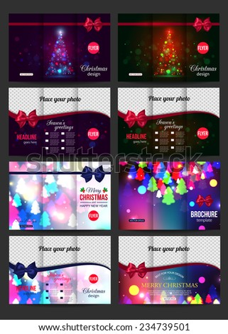 Christmas brochure templates. Abstract flyer design with blurred bokeh lights and place for text. Back and front sides. Vector illustration. - stock vector