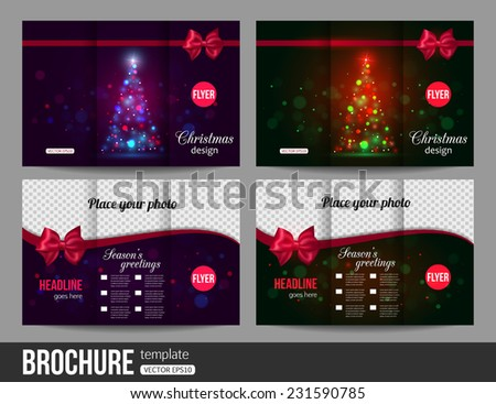 Christmas brochure templates. Abstract flyer design with xmas bows, blurred bokeh lights and place for text. Back and front sides. Vector illustration. - stock vector