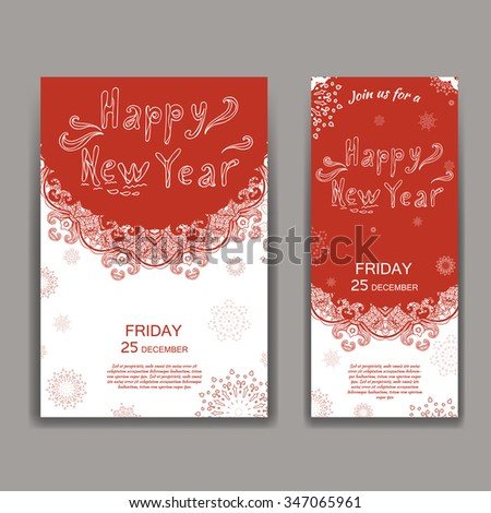 Christmas brochures in vintage style. Hand drawn lettering. Vector illustration - stock vector