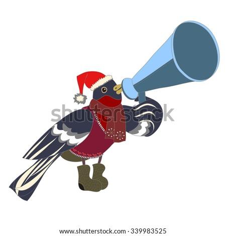 Christmas bullfinch witha pipe - stock vector