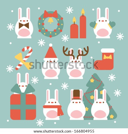 Christmas Bunny Set - stock vector