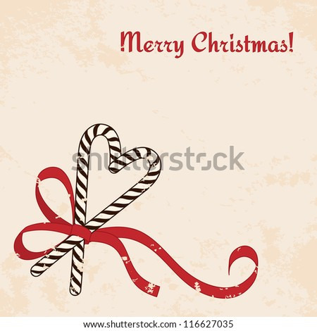 Christmas candies cane with ribbon - vintage christmas card - stock vector