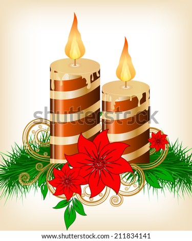 Christmas candle and ball decorate card vector illustration - stock vector