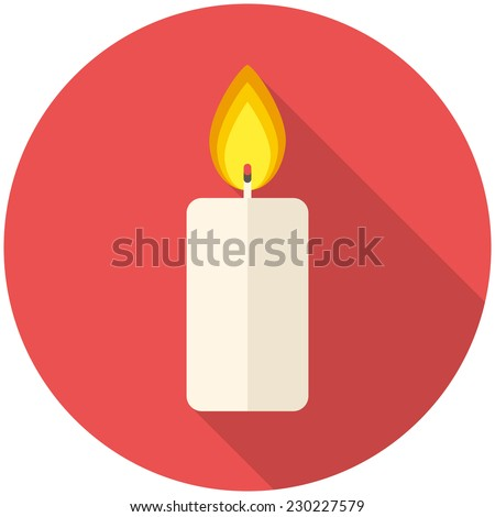 Christmas candle icon (flat design with long shadows) - stock vector
