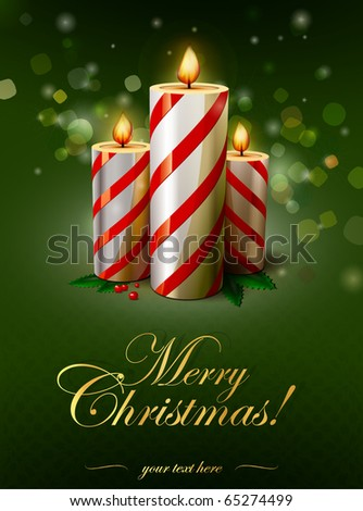 Christmas candle illustration | editable vector illustration - stock vector