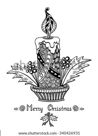 Christmas Candle In Zen Doodle Style Black On White Coloring Page For Book Or Creative