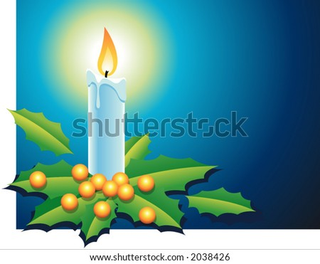 Christmas candle with holly berries and leafs in blue background - stock vector
