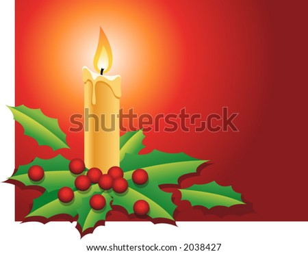 Christmas candle with holly berries and leafs in red background - stock vector
