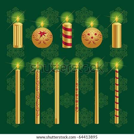 Christmas Candles Set - stock vector