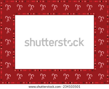 Christmas Candy Cane Frame Christmas candy cane patterned frame with beaded mosaic border  - stock vector