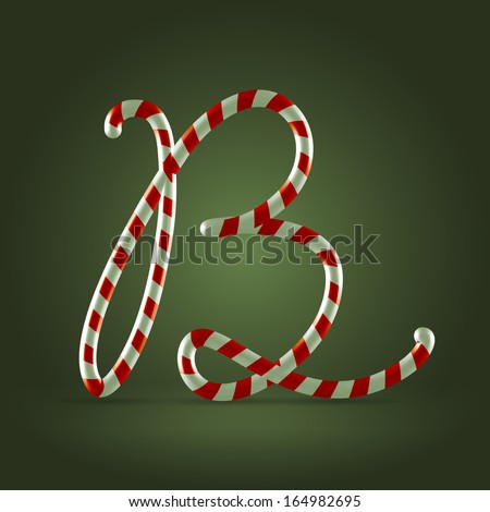 Christmas Candy cane traditional sweets abc capital letter B - stock vector