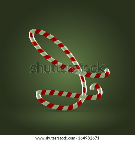 Christmas Candy cane traditional sweets abc capital letter I - stock vector