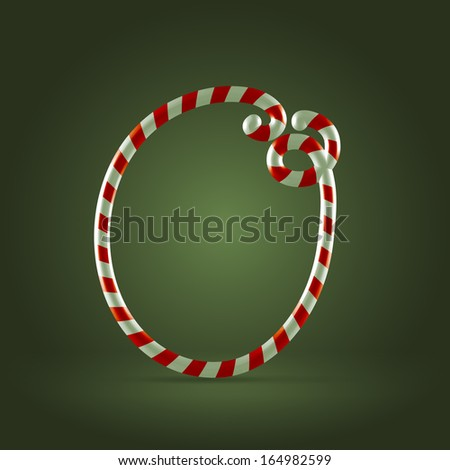 Christmas Candy cane traditional sweets abc capital letter O - stock vector