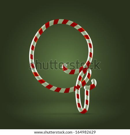 Christmas Candy cane traditional sweets abc capital letter Q - stock vector