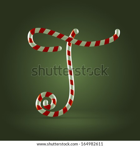Christmas Candy cane traditional sweets abc capital letter T - stock vector