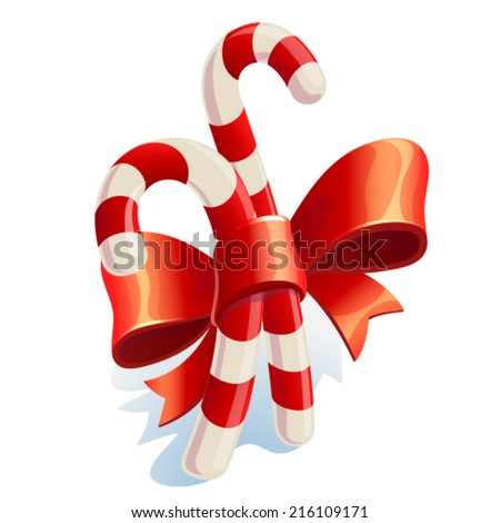 Christmas Candy Cane with Red Bow Isolated on White Background. - stock vector
