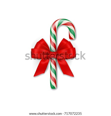 Christmas candy cane with red bow. Vector Christmas or New Year design element.