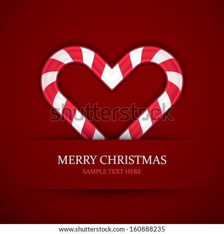 Christmas candy heart vector background. Christmas card or invitation.  - stock vector