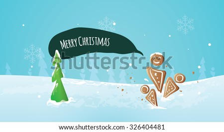 Christmas candy in winter nature. Christmas postcard. Trees in the background. - stock vector