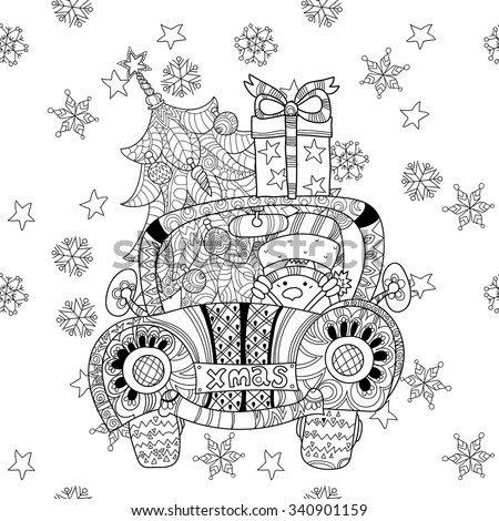 Christmas car gift doodle zentangle. Hand drawn boho vector background with Christmas decorations, Christmas tree, ball, star and snowflakes.Seamless pattern. - stock vector