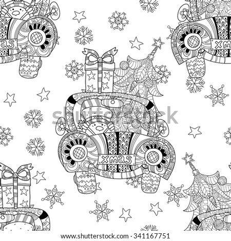 Christmas car gift doodle zentangle. Hand drawn vector background with Christmas decorations, Christmas tree, ball, star and snowflakes.Seamless pattern. - stock vector