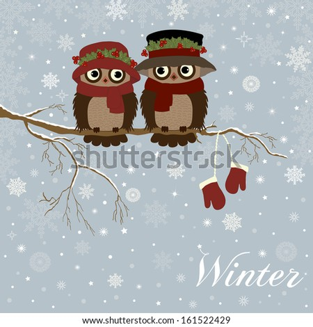 Christmas card a branch with owls in vector - stock vector