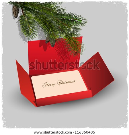 Christmas card and red envelope with branch of fir. Vector illustration - stock vector