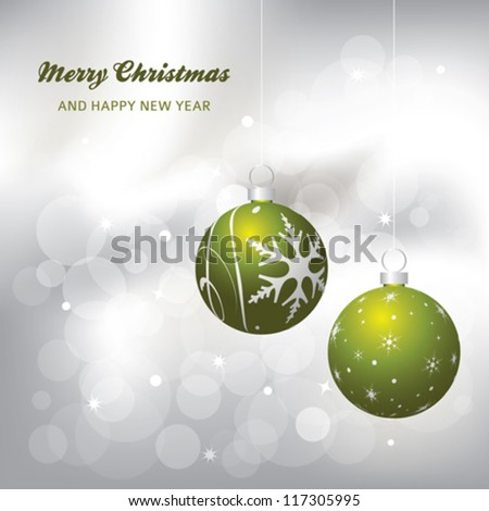 christmas card background, green and silver, vector illustration
