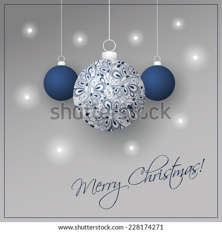 Christmas Card Background with Christmas Ball - stock vector