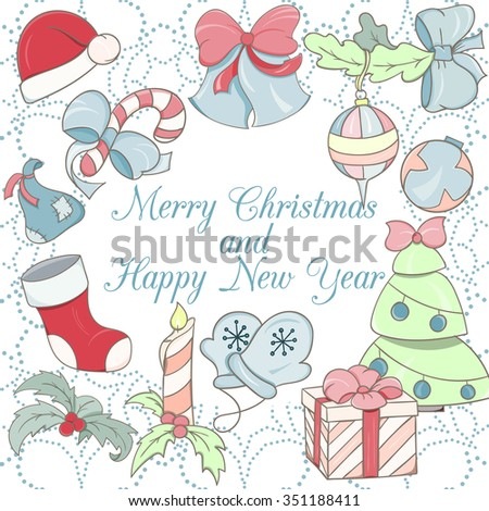 Christmas card can be used for website decoration, icon or holiday design