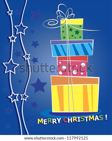 Christmas card. Celebration background with gift boxes and place for your text. - stock vector