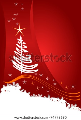 Christmas card. Celebration background with tree and place for your text. - stock vector