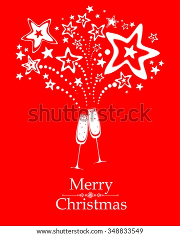 Christmas card. Celebration red background with Two Glasses of champagne, firework and place for your text. Vector illustration  - stock vector