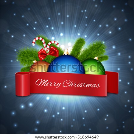 Christmas card. Christmas ball with red ribbon for your text. EPS10 vector