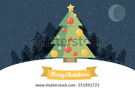 Christmas card. Christmas tree. Vector flat illustration. - stock vector