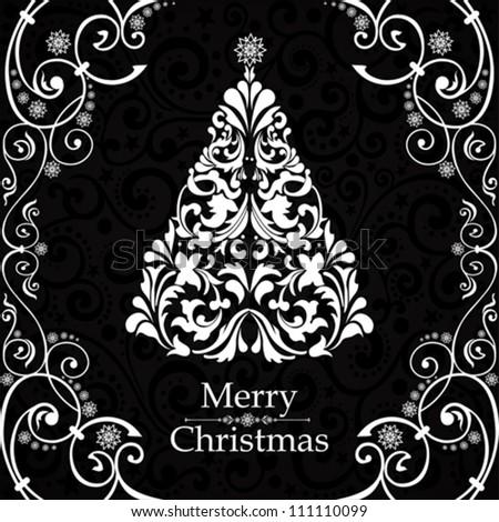 Christmas card. Christmas tree. Vector Illustration - stock vector