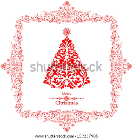 Christmas card. Christmas tree. Vector Illustration