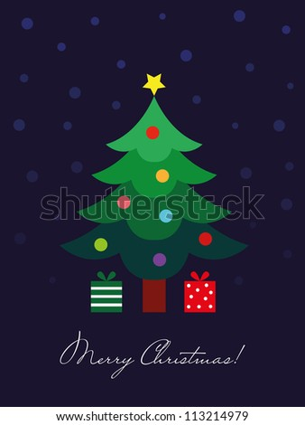 Christmas card, Christmas tree with decoration and gift - stock vector