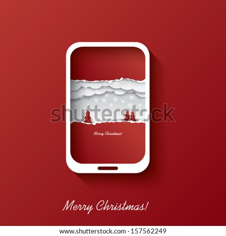 Christmas card concept design in smartphone background suitable for christmas postcards or invitations to sales etc. - stock vector