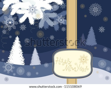 christmas card decoration with different christmas decorative elements - trees, branches, snowflakes - stock vector