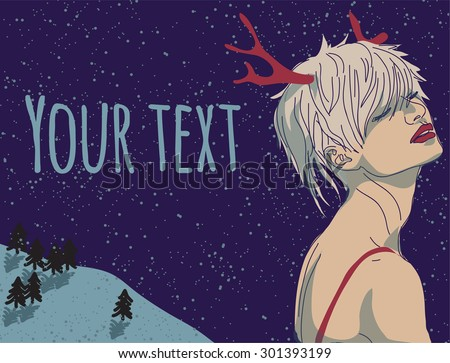 Christmas card depicting a girl in a festive costume with red deer antlers - stock vector