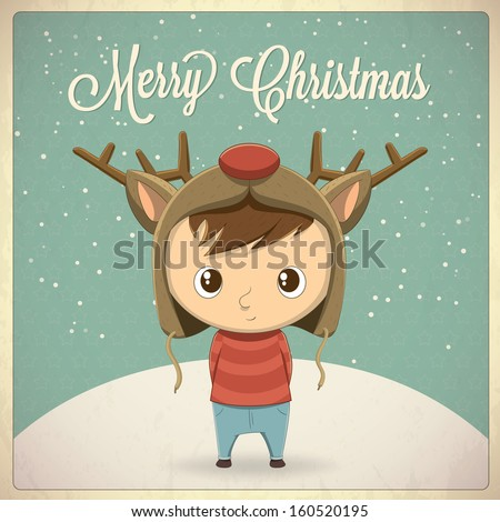 Christmas card design, boy with hat character illustration. Vector background - stock vector