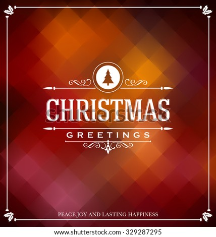 Christmas Card Design - Elegant Stylish Greeting with Typographic elements - stock vector