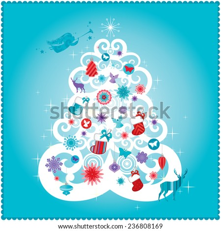 Christmas card design in teal & red. - stock vector