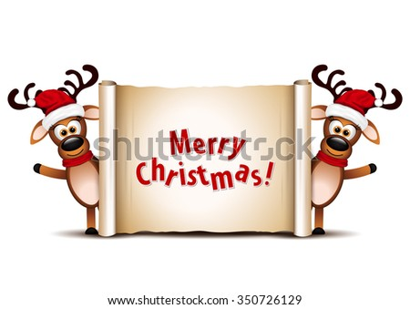 Christmas card design template. Two deer on Christmas greeting card. - stock vector