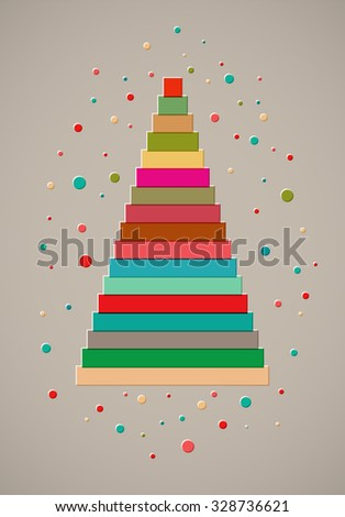 Christmas card design with stylized colorful ribbon Christmas tree. Vector illustration. - stock vector