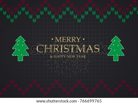 Christmas card element on dark Knitting sweater background