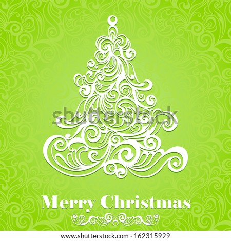 Christmas card. Floral Christmas tree. Vector illustration for your design. - stock vector