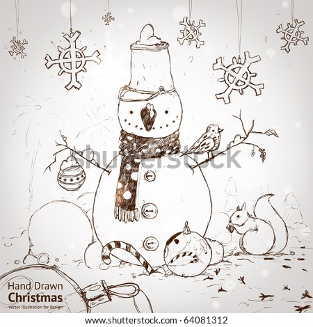 christmas card for xmas design with fur tree, snowflakes, ball, bird, squirrel and hand drawn snowman. - stock vector
