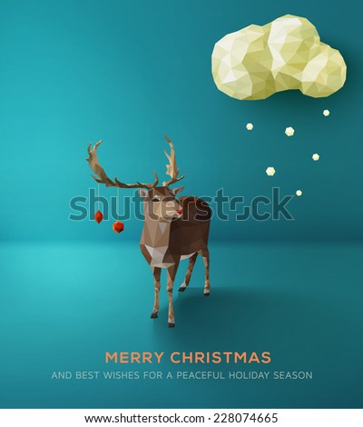 Christmas Card. Geometric polygonal reindeer against blue landscape. Vector Illustration - stock vector